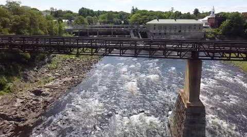 Walking bridge over river