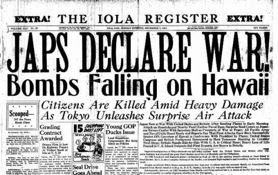 Dec 7 1941 issue of the Iola Register newspaper